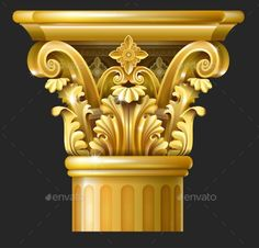 Buy Gold Corinthian Column by on GraphicRiver. Golden Capital of the Corinthian column in the Baroque style. Ceiling Design, Wall Design, Architecture Concept Drawings, Roman Architecture, Classic House Exterior, Pillar Design, Carved Wood Wall Art, Roman Columns, Architectural Columns