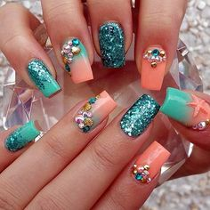 Teal And Coral Nails Pictures, Photos, and Images for Facebook ...