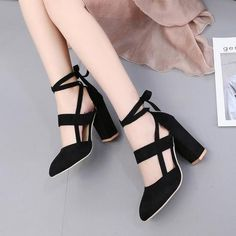 4945ecc8fcc Ankle Strap Shallow Mouth Heeled Shoes