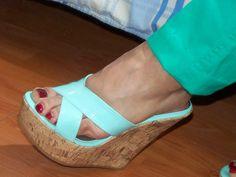 Platform Wedge Sandals, Wedge Heels, Flip Flop Shoes, Sexy Toes, Women's Feet, Beautiful Women, Wedges, Cork, Sky