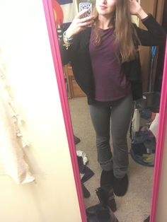 """Hooded """"Stark"""" sweater with yoga pants and a burgundy top outfit"""