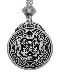 Handmade Celtic Knotwork Runic Love Pewter Chain Pendant Amulet