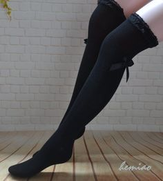 0c889303c0c80 Thigh high socks, Knee high socks, black women boot Socks , boot socks,Black  lace top bow socks ,women leg warmers,girls socks