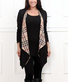 Look at this #zulilyfind! Black & Beige Drape Cardigan - Plus #zulilyfinds