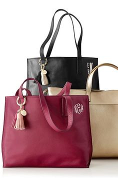 Gift Idea: Leather totes with monogram option and tassel key chains