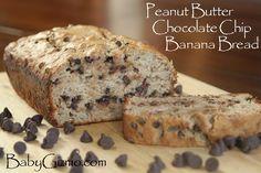Peanut Butter Chocolate Chip Banana Bread #Bread #dessert