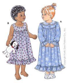 Kwik Sew Toddler Nightgowns Pattern-toddler pattern, pattern for toddlers, nightgown, nightgowns, nightgown pattern, toddler, girl,