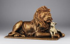 The Lion and the Lamb bronze sculpture by Mark Hopkins, 2 sizes available, limited signed edition