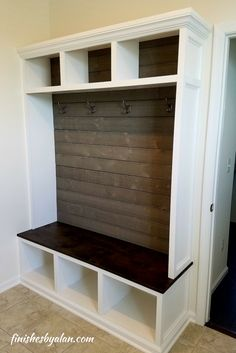 Mudroom Storage Idea Bench With Grey Shiplap