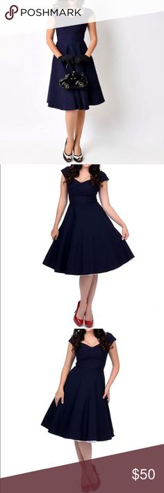 New Navy Blue Pin-up A-Line Vintage Swing Dress M NEW w/tags! Navy Blue Pin-up Style, Vintage Retro A-Line Swing Dress M. Never worn. Why Selling? The website, Unique Vintage, has a 14-day return/exchange policy. That's fine, typically. However, for a bridesmaid with A.D.D., on short notice, in a rural town (SHIPPING!), on A BUDGET with a LIFE, 14-days is maddening. SO MANY FORMER BRIDESMAIDS UNDERSTAND! Long&Short: I ended up w/ two of the same dress. One I wore (photo); NOT this one…