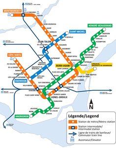 Montreal, Canada. Metro(subway) routes.