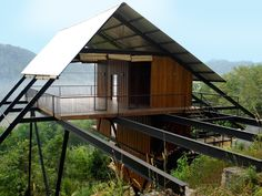 Though not technically a proper tree house, (.), this bungalow style oasis is still outrageously cool. Designed by Narein Perera and located in Matugama. Hillside Villas, House On Stilts, Casas Containers, Cool Tree Houses, A Frame House, Forest House, Sri Lanka, Tiny House, Architecture Design