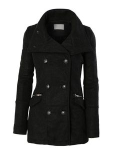 LE3NO Womens Stand Collar Military Pea Coat Jacket with Pockets
