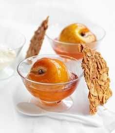 poached peaches with crunchy almond shards
