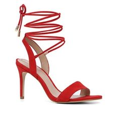 NEW Aldo Marilyn High Heel Sandals - Red Nubuck Aldo Marilyn High Heel Sandals - Red Nubuck. Still in the original box and wrapped. Never worn.  A sexy night-out sandal with ties that wrap at the ankle or leg. Spotlight yours against soaring hemlines. Material: Leather Sole: Synthetic - Ankle strap. - Almond toe. - Single sole. - Heel Height: 3.75 in. ALDO Shoes Heels