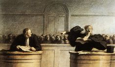 """Honoré Daumier, """"A Famous Cause,"""" Pencil-and-watercolor Drawing, ca. 19th Century."""