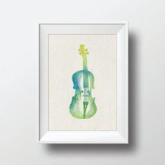 Watercolor Violin Vintage Illustration Printable Art by VNBDesigns