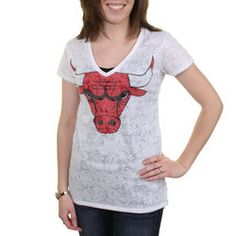 fc7739e914c Chicago Bulls Women s Sublime V-Neck Sleep Shirt - White. Concepts Sport  Chicago Bulls Women s Heathered Red Principle Tank Top   Shorts Sleep Set