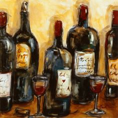 Bottle and red wine glass. Wine painting. Art #art