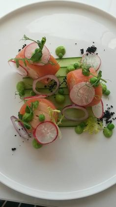 salmon / cucumber / radish / green pea - The ChefsTalk Project