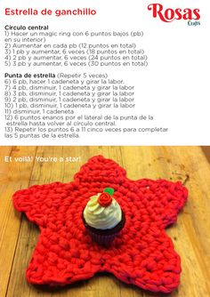 Estrella de ganchillo / trapillo, by Rosas Crafts Crochet Diy, Crochet Hats, Cotton Cord, Crochet Squares, T Shirt Yarn, Crochet Flowers, Crochet Necklace, Textiles, Sewing