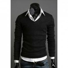 Wholesale Fashionable Thicken V-Neck Solid Color Knitting Sweater For Men (BLACK,L), Cardigans & Sweaters - Rosewholesale.com