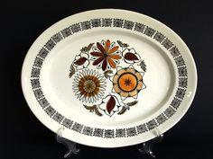 Kathie Winkle Calypso Serving Platter - 1960s Vintage Mid Century Flowers Design - Ironstone Broadhurst England