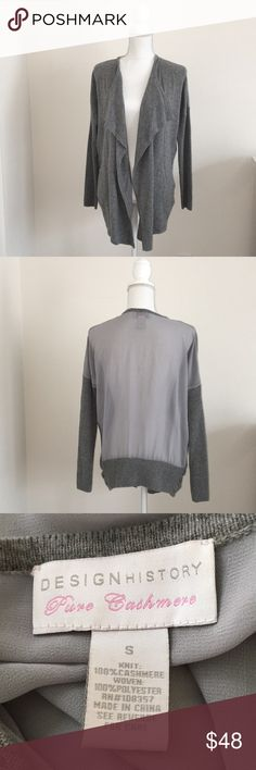 Design History Cashmere Drape-Front Sweater Gorgeous cashmere mixed media cardigan with rubber sleeves and flattering front draping. Excellent used condition/dry clean only. Comes from a pet-free, smoke-free home. Design History Sweaters Cardigans