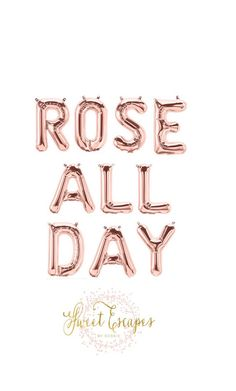 Rose All Day Rose Gold Letter Balloons ~ Bridal Brunch ~ Bridal Shower ~ Bachlorette Party ~ Rose All Day Banner ~ 13.5 inch Air Fill Only