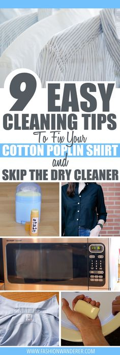 These 9 cleaning fixes to cotton poplin shirts are THE BEST! I'm so glad to find these awesome washing tips not only it is super EASY and also QUICK! I didn't know how to remove coffee stains and dry quickly in a hurry! I love how all methods are using natural homemade DIY and chemical-free! Definitely pinning!   #cotton #laundrytips #cleaningtricks #hacks #diy #homemade #frugallivingtips #savingmoney #naturalcleaning