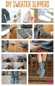 How to make slippers from sweater. Easy idea to try..