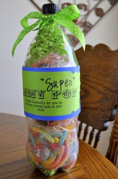 """Slimy """"Super"""" Pop--Father's Day Gift. Empty soda bottle filled with gummy worms (Daddy's favorite treat)."""