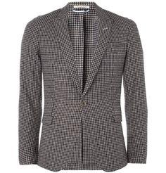 Gant RuggerUnstructured Slim-Fit Houndstooth Wool Blazer