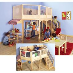Child Playhouse Market Loft With Extension Kit In Natural Guidecraft. ideas for building backyard play loft Kids Indoor Playhouse, Build A Playhouse, Indoor Playground For Kids, Indoor Play Equipment, Reading Loft, Reading Time, Home Daycare, Toy Rooms, Play Houses