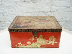 Vintage red tin box biscuits assortment Blue by itsvintageindeed, £9.00