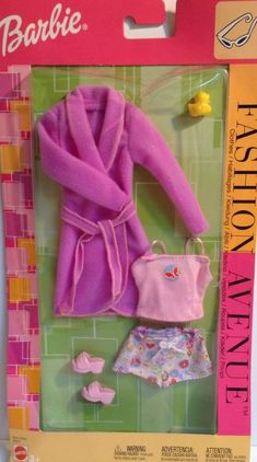 2002 Barbie Fashion Avenue Metro Styles B33712 - Bathrobe / Robe, Cami, Boy Shorts / Boxers, Sandals and Yellow Rubber Duck / Ducky - Mattel