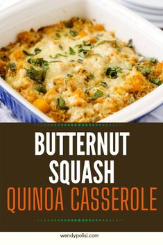 Anytime I can satisfy my cravings for comfort food in a way that doesn't involve a lot of unhealthy ingredients I am ecstatic. Butternut Squash Quinoa Casserole is one of my go-to meals. I prepare the quinoa and butternut squash as part of my weekly meal prep, which makes this gluten-free dish super easy to put together.  #wendypolisi #glutenfreerecipes #healthyglutenfree #healthycasseroles #quinoa Gluten Free Recipes For Breakfast, Healthy Gluten Free Recipes, Gluten Free Dinner, Healthy Dinner Recipes, Cooking Recipes, Butternut Squash Casserole, Health 2020, Meal Prep For The Week, Side Recipes
