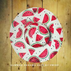 Watermelons handpainted Panama hat by Vmixo Painted Hats, Painted Clothes, Hand Painted, Fabric Painting, Fabric Art, Ascot Style, Stained Glass Mirror, Diy Hat, Summer Hats
