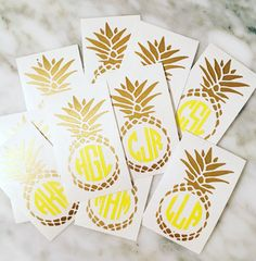 Gold Pineapple Monogram Decal