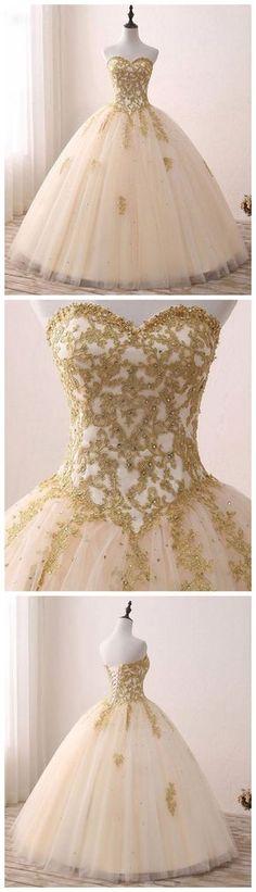A LINE BALL GOWNS SWEETHEART GOLD PROM DRESS EVENING DRESS SKY895