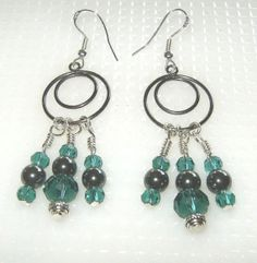 Hematite and Teal Crystal Earrings by BevmarDesigns on Etsy