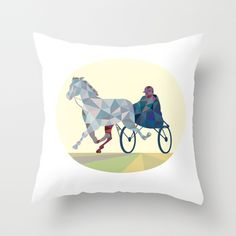 Horse and Jockey Harness Racing Low Polygon Throw Pillow. Low polygon style illustration of a horse and jockey harness racing viewed from the front set on isolated white background. #illustration #HorseandJockeyHarness