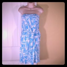 Banana Republic Strapless Sundress Medium Blue and White strapless sundress from Banana Republic. This super cute style is complimented with braided detail in front at top, drawstring elastic waist and pockets!  Very functional and comfortable. Excellent condition.  Size Medium. Banana Republic Dresses Strapless