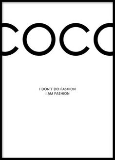 Stylish print with a Chanel quote. Fashion posters and prints