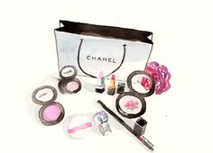 Chanel Make-up-Aquarell Make-Up Abbildung von MilkFoam auf Etsy
