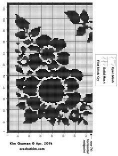 free Crochet Tunisian and Knit patterns from award-winning designer, author and teacher, Kim Guzman. Filet Crochet Charts, Crochet Cross, Thread Crochet, Crochet Shawl, Crochet Stitches, Crochet Patterns, Crochet Ideas, Crochet Tablecloth, Crochet Doilies
