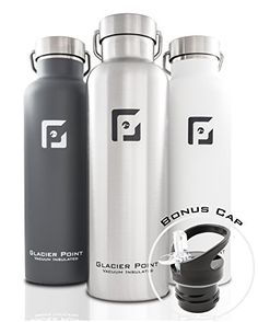 GlacierPoint Vacuum Insulated Stainless Steel Water Bottle (25oz Gray). For product info go to:  https://all4hiking.com/products/glacierpoint-vacuum-insulated-stainless-steel-water-bottle-25oz-gray/