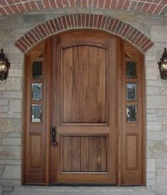 Solid wood front entry door with planked panels | Mahogany, Walnut, Cherry, Oak