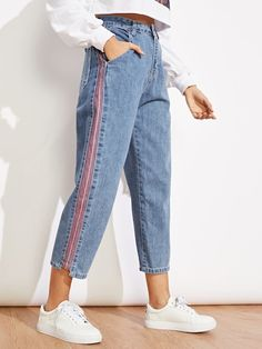 ROMWE offers Striped Panel Jeans & more to fit your fashionable needs. Refaçonner Jean, Denim Fashion, Fashion Outfits, Jeans Refashion, Cool Outfits, Casual Outfits, Striped Jeans, Diy Clothes, Mom Jeans