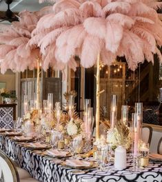 ・・・ Pretty in Pink! The Terrance Room at along famed St Charles Avenue with streetcars! Love this space for birthdays, rehearsal dinners & wedding/baby showers! Blush Centerpiece, Elegant Centerpieces, Ostrich Feather Centerpieces, Feather Wedding Centerpieces, Pink Wedding Decorations, Feather Wedding Decor, Home Wedding, Wedding Table, Dream Wedding